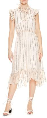 Sandro Ruffled Metallic Stripe Midi Dress
