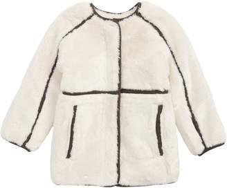 Chloé Contrast Braided Trim Faux Fur Coat