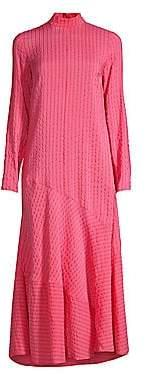 Ganni Women's Lynch Seersucker Midi Dress