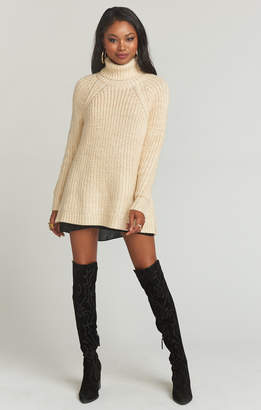 Show Me Your Mumu Marvin Turtleneck Sweater ~ Marled Cream Knit