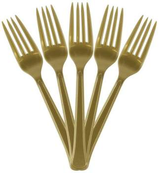 JAM Paper Premium Utensils Party Pack, Plastic Forks, Gold, 48 Disposable Forks/Pack