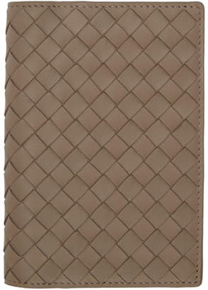 Bottega Veneta Taupe Intrecciato Passport Holder