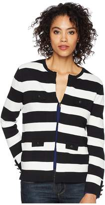 Anne Klein Stripe Jacket Cardigan Women's Sweater