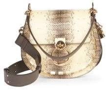 Chloé Medium Tess Snake-Print Leather Saddle Bag
