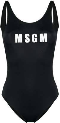 MSGM logo print one-piece swimsuit