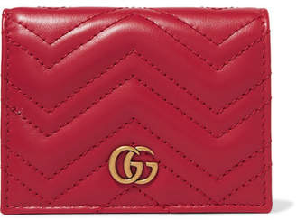 Gucci Gg Marmont Small Quilted Leather Wallet - Red