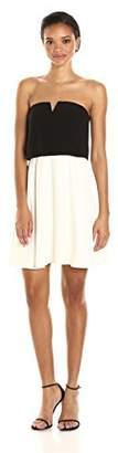 Halston Women's Strapless Tiered Crepe Dress W Notch Detail