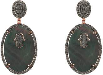 Mother of Pearl Latelita London - Hamsa Grey Oval Earring