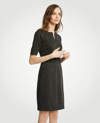 Ann Taylor Petite Herringbone Split Neck Sheath Dress