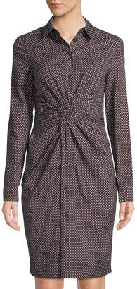 Michael Kors Long-Sleeve Diamond-Print Shirtdress w/ Twisted Front