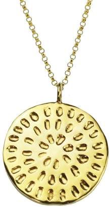 Yvonne Henderson Jewellery - Moroccan Inspired Large Organic Disc Pendant with Long Chain Gold