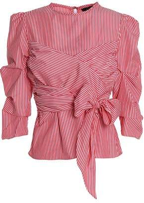 Walter W118 By Baker Tristian Bow-Embellished Striped Cotton-Poplin Blouse
