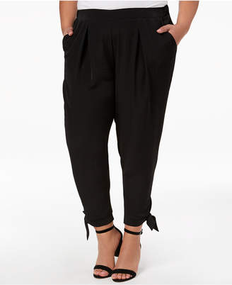 NY Collection Plus & Petite Plus Size Tapered Tie-Hem Pants