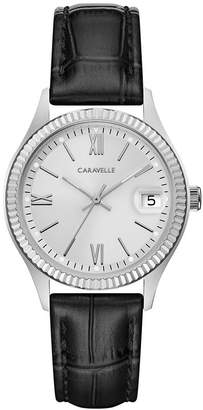 Bulova Caravelle Designed by Women Black Leather Strap Watch 32mm