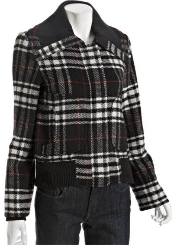 Levi's black wool blend plaid zip bomber jacket
