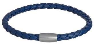 Jan Leslie WOVEN LEATHER BRACELET MAGNET CLOSURE IN BLUE