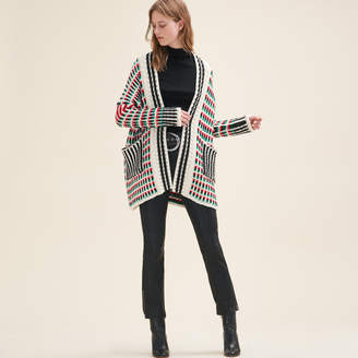 Maje Long multi-coloured knit cardigan