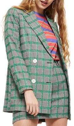 Topshop Double Breasted Windowpane Plaid Jacket