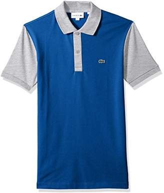 Lacoste Men's Short Sleeve Color Block Pique Pima Stretch Slim Polo