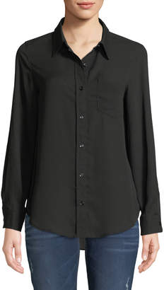 Nanette Lepore Nanette Button-Front Long-Sleeve Blouse w/ Chest Pocket
