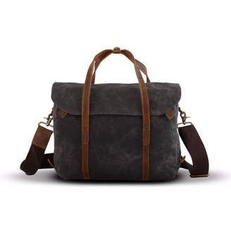 EAZO - Waxed Canvas Messenger Laptop Bag Grey