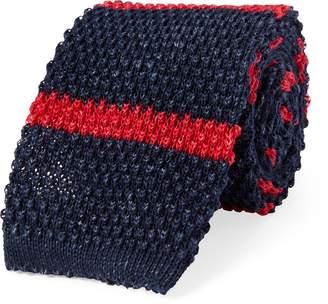 Ralph Lauren Striped Knit Linen-Cotton Tie