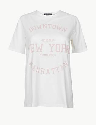 Marks and Spencer Pure Cotton Manhattan Straight Fit T-Shirt