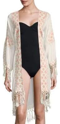 Melissa Odabash Fringed Open-Front Robe