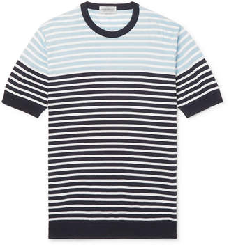 John Smedley Striped Knitted Sea Island Cotton T-shirt