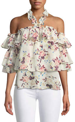 MISA Los Angeles Giselle Off-the-Shoulder Tiered Ruffled Floral-Print Top