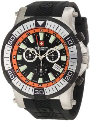 Swiss Military Calibre Men's 06-4H1-04-079 Hawk Chronograph Orange Inner Bezel Rubber Strap Watch