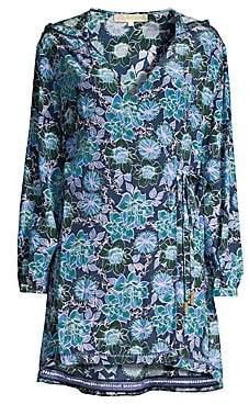 Farah Paloma Blue Women's Hooded Floral Wrap Dress