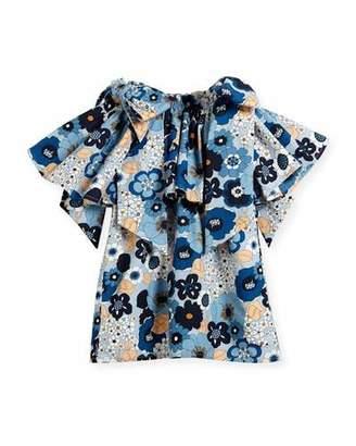 Chloé Mini Me Floral Bow-Shoulder Dress, Sizes 12-14