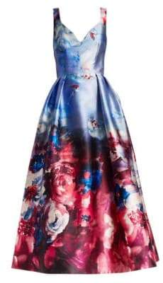 David Meister Printed Sleeveless Gown