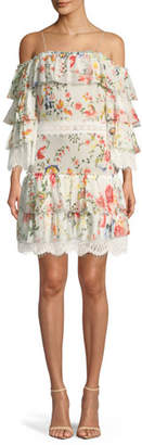 Alice + Olivia Santos Cold-Shoulder Floral-Print Tiered Silk Dress w/ Lace Trim