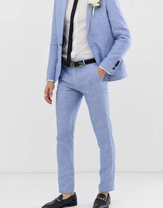 Twisted Tailor super skinny suit pant in blue linen