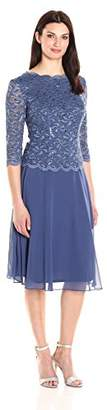 Alex Evenings Women's Sequin Lace Mock Dress