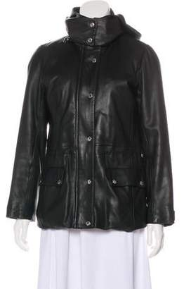 Andrew Marc Hooded Leather Jacket