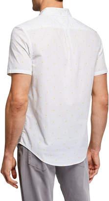 Original Penguin Men's Short-Sleeve Polka Dot Lemon Oxford Shirt