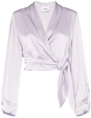 Nanushka Salome tie waist cropped wrap shirt