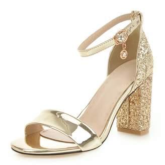 7dc85ba15c1 Kaloosh Women s Fashion Glitter Sequin High Heel Sandals Ankle Strap Block  Heel Sandals