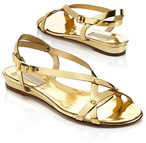 Michael Kors Bayou Metallic Flat Sandal