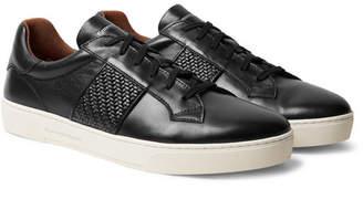 Ermenegildo Zegna Pelle Tessuta-Panelled Leather Sneakers