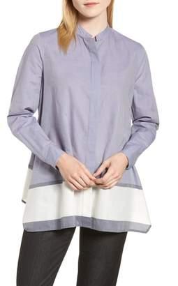 Anne Klein Colorblock Asymmetrical Hem Shirt
