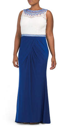 Plus Long Dress With Lace Bodice