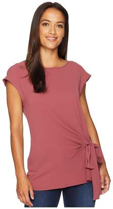 Vince Camuto Short Sleeve Mix Media Tie Front Blouse Women's Clothing