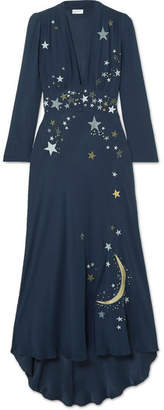 RIXO London - Margo Embellished Embroidered Georgette Midi Dress - Midnight blue