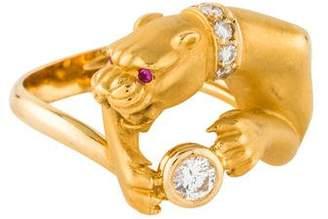 Carrera y 18K Diamond Leopard Ring