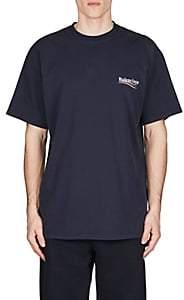 Balenciaga Men's Logo Cotton T-Shirt-Navy