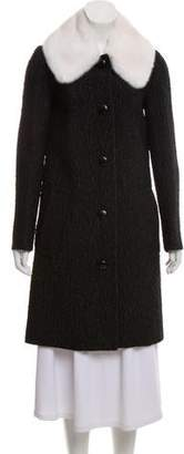 Michael Kors Mink-Trimmed Wool-Blend Coat w/ Tags